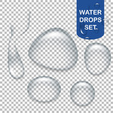 Transparent water drops