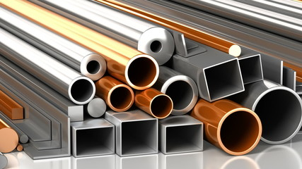 Set of steel and copper pipes and construction materials.
