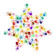 Stern aus bunten Handabdrücken