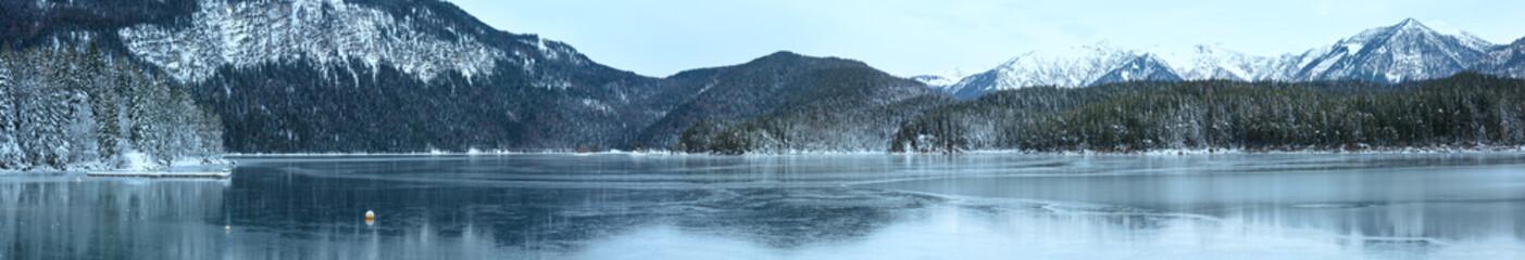 Eibsee lake winter panorama.