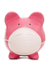 piggy bank wearing anti pollution mask