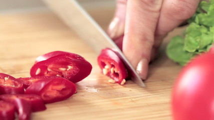 slicing pepper in the home kitchen