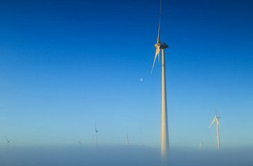Wind turbines generating sustainable energy on a foggy morning.