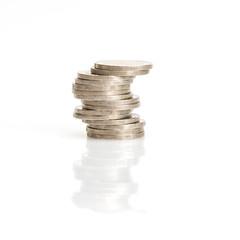 closeup silver coins stcking