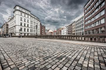 Urban scene with retro vintage Instagram style monochrome filter