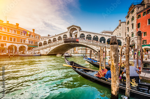 Aluminium Venetie Canal Grande with Rialto Bridge at sunset, Venice, Italy