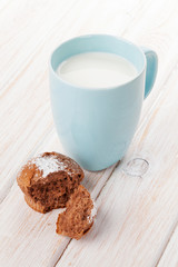 Cup of milk and cake