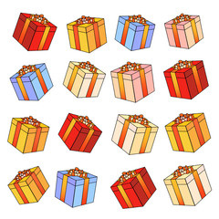 Gift boxes with bows and ribbons.