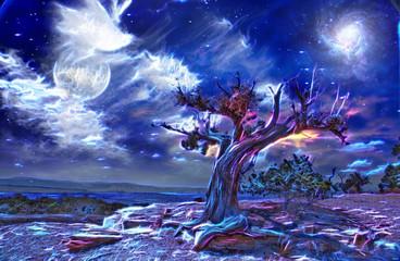 Desert Tree at night digital abstraction