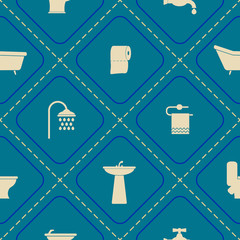 Seamless background with bathroom icons for your design