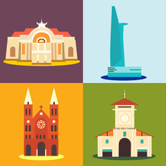 Ho Chi Minh city destination icons