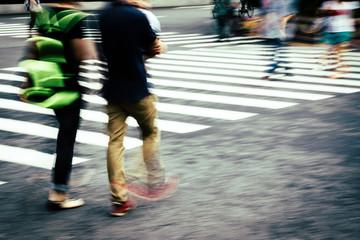 crosswalk and pedestrian at street