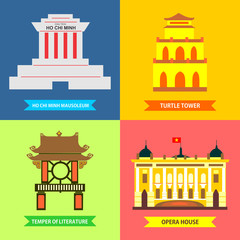 Ha Noi destinations icon set