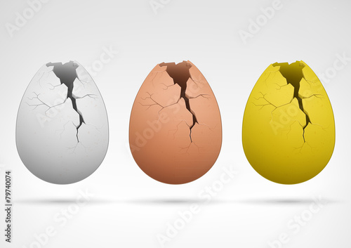 white brown and golden cracked egg collection - 79740074