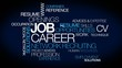 Job carrer profession network recruiting tag cloud animation