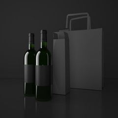 Wine and packing bags. High resolution.