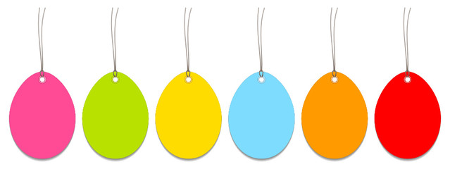 6 Easter Hangtags Eggs Color