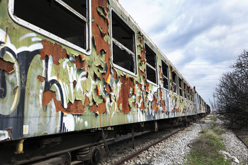 Old and abandoned passenger train wagons