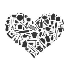 Liebe zum Kochen - Sillhouetten Herz aus Kochzubehör