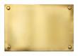 Leinwandbild Motiv blank gold or brass metal sign or nameboard isolated on white