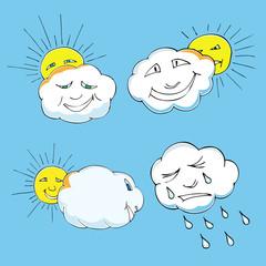 Cute doodle of sky elements: sun, clouds. Vector illustration