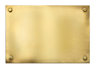 blank gold or brass metal sign or nameboard isolated on white