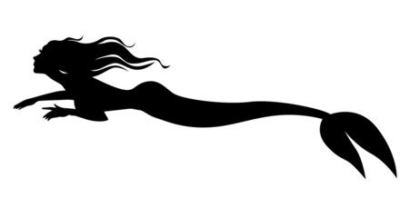 Silhouette mermaid swimming forward