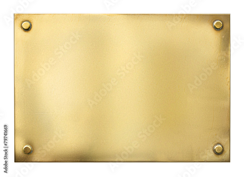 blank gold or brass metal sign or nameboard isolated on white - 79741669