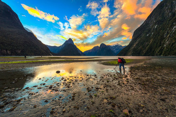 Milford sound with the sunset twilight and reflection