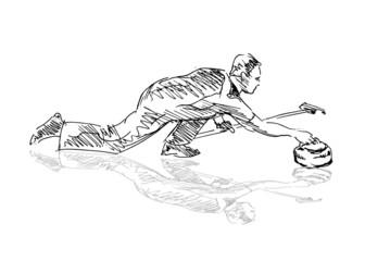 Hand sketch curling player. Vector illustration