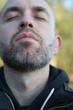 Casual sefie portrait of a adult beard man
