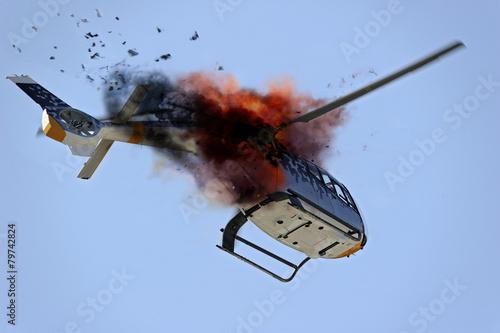 Fotobehang Helicopter plane crash