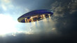 Alien UFO saucer flying through the clouds above Earth - 79743058