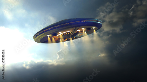 Foto op Plexiglas Ruimtelijk Alien UFO saucer flying through the clouds above Earth