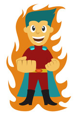 Superhero Kid with Fire
