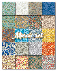 Set of abstract colorful mosaic