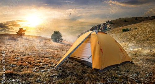 Tent on mountain