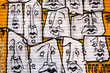 Abstract graffiti faces, Shoreditch, London.