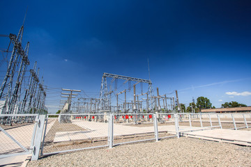 electric substation on blue sky
