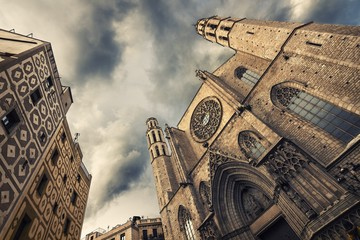 Santa Maria del Mar churc, Barcelona, Catalonia, Spain