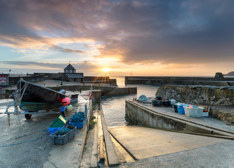 Sunrise at Charlestown a small historic fishing port in Cornwall