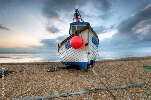 Fishing Boat on the Beach in Kent - 79744415