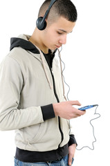 Young boy technological
