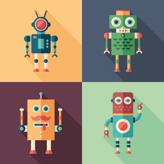Set of intelligent robots flat square icons with long shadows.