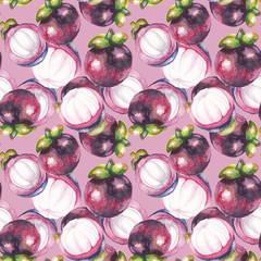 Watercolor masngosteen pattern