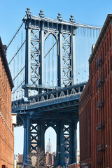 Famous view at Manhattan Bridge from Brooklyn