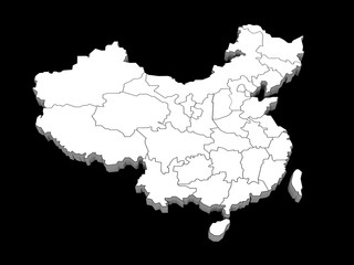 3d illustration of the provinces of china