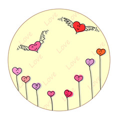 Winged hearts cartoon style.  Sky shape with clouds.