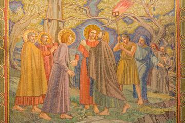 Jerusalem - mosaic of the betrayal of Jesus in Gethsemane