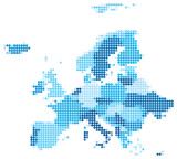 Europe dotted blue